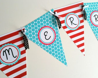 Custom Party Decor Red White Turquoise Decor Merry Christmas Banner Personalized Party Banner Holiday Party Garland Pennant Banner Flags