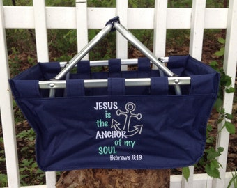 Monogram Market Tote ~ Teacher Tote ~ tailgating tote ~ Monogram shopping tote ~ Canvas Tote Basket ~ car organizer ~ Church Tote