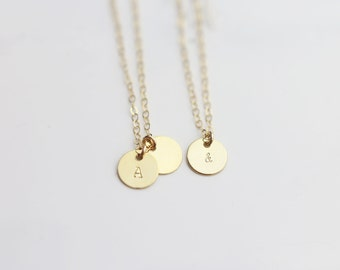 GF SS // Small Initial Coin Disc Necklace // Bridesmaids Personalized Jewelry Gift