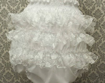 ONLY 25GBP Adult Baby Frilly Sissy Panties Nappy Cover White lace on satin