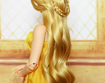 Long Goldenrod Wig with brads (size 9-10 inch)