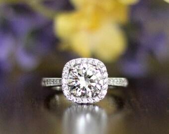 2.20 Carat Art Deco Ring-Halo Engagement Ring-Brilliant Cut Diamond Simulant-Anniversary Ring-Bridal Ring-Solid Sterling Silver [3252]