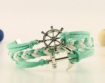 Green mint nautical bracelet Steering wheel anchor bracelet Navy gift jewelry Boat wheel and anchor jewelry Silver anchor wheel Sailors gift