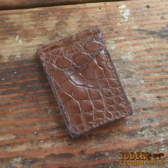 Alligator Brown Slim Skinny Thin Money Clip Wallet Genuine