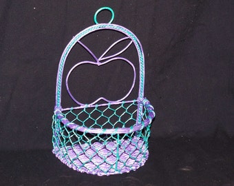 Basket, wire,  hangs, violet and teal acrylic paint