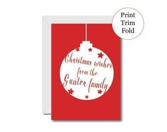 Personalised Christmas printable card, print your own Christmas card, Christmas wishes greeting card, digital download Christmas card