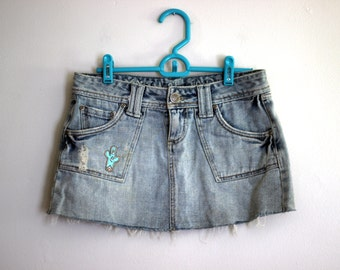 Out West: Southwestern Bohemian Cactus Patch Myth of Jade Cut Off Distressed Denim Mini Skirt