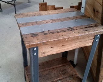 Barn Wood And Angle Iron Side Table, Barn Wood End Table, Reclaimed Wood And