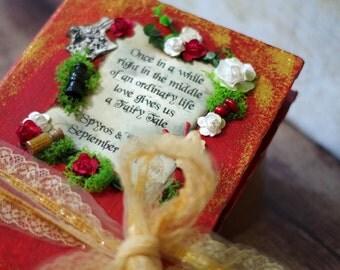 Alice in Wonderland Wedding Guest Book - Red Fairy tale Photo Album - Miniatures Scrapbook - Moss - Tea Party - Bridal shower guest book