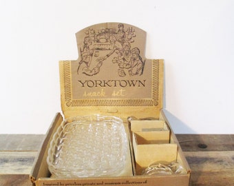 Yorktown Snack Sets by Federal Glass Company - 4 Mid-Century Cup-and-Plate Pairs and Display Box.