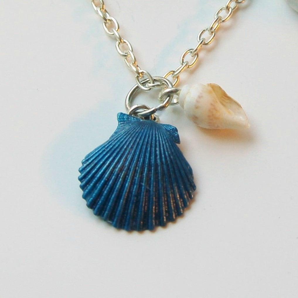 Make Your Own Seashell Jewelry: Blue Seashell Necklace Seashell Jewelry Real Shell Necklace