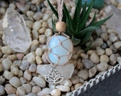 Opalite-Hemp Necklace-Interchangeable Pouch-Lotus Charm-Healing Crystal Jewelry-Hippie Boho Style Jewelry-Crystal Necklaces