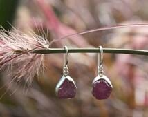 Raw Ruby Earrings in Sterling Silver