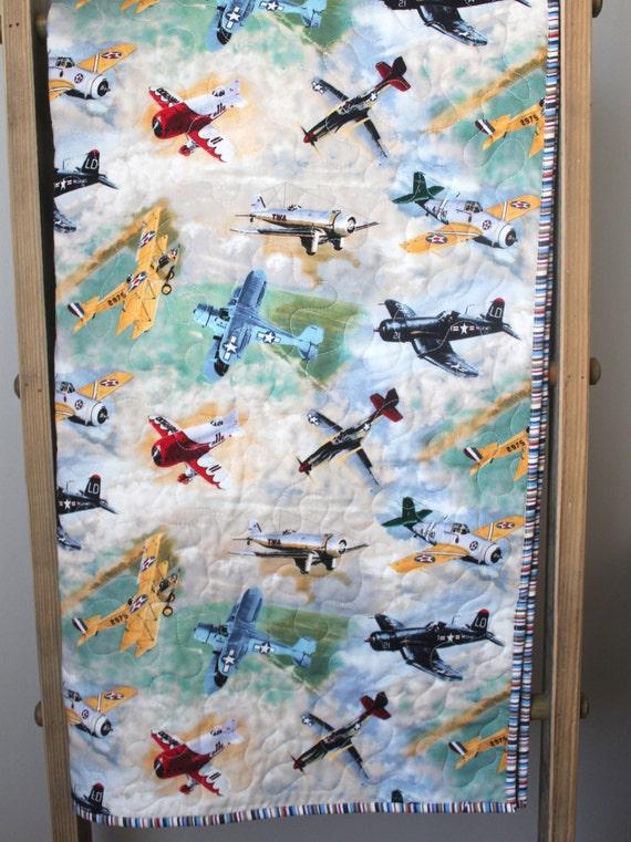 Quilt Baby Boy Airplane Baby Bedding Vintage Airplane
