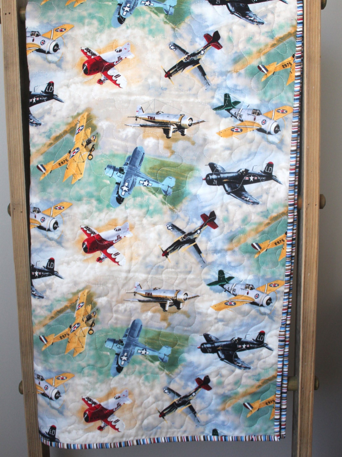 Quilt Baby Boy Airplane Baby Bedding Vintage Airplane