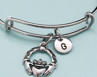 Claddagh bangle, claddagh charm bracelet, expandable bangle, charm bangle, personalized bracelet, initial bracelet, monogram