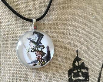 Mad Hatter Jewelry, Alice in Wonderland, Tea Party Jewelry Mad hatter Necklace, Wonderland Gift, Top Hat, Book Lover Gift