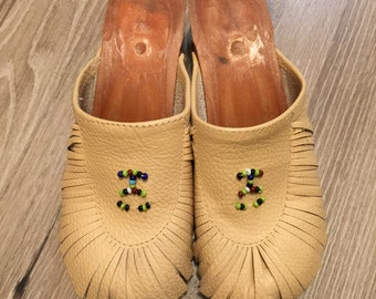 Leather fringe and beaded clogs - mules - moccasins - size ladies 6