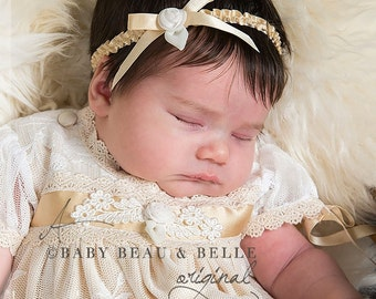 Baby Headband 'Louisa', Gold Silk Baby Headband