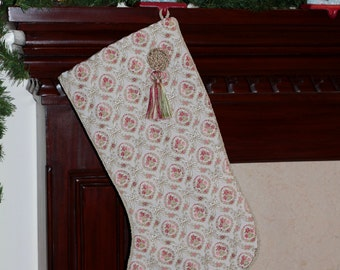 One of a Kind Handmade Christmas Stocking, Vintage Tapestry