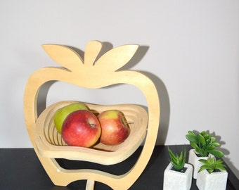 Fruit bowl wooden form Apple, or trivet, apple