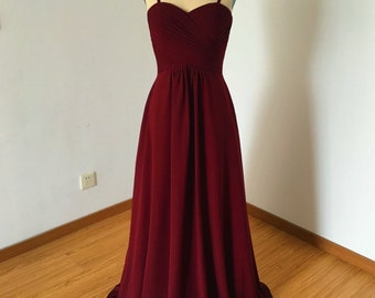Spaghetti Straps Sweetheart Burgundy Chiffon Long Bridesmaid Dress