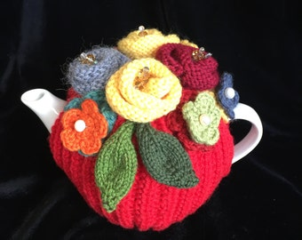 Red Gum - Hand Knitted Tea Cosy, Hand knit, Wool, Pearls, Kitchen, Handcrafted, Handmade, Gift, Present, Tea Cozy (2-4 cup)