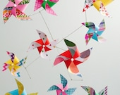 Baby Mobile / Yellow, Aqua, Red, Pink & Green pinwheel baby crib mobile / rainbow playroom decor / gender neutral baby gift  / Spring Burst