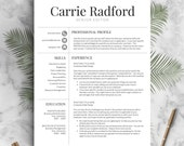 Classic, Professional Resume Template for Word and Pages (US Letter & A4) 1, 2 or 3 Page Resume Template, Social Icons | Instant Download