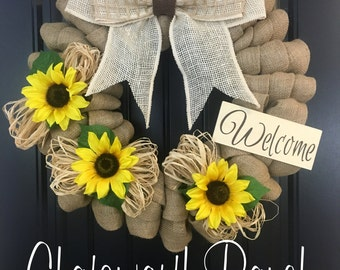 Sunflower Fall Wreath - Welcome Door Wreath -  Rustic Country Shabby Chic Thanksgiving Fall Autumn Harvest Halloween Sunflower Wreath