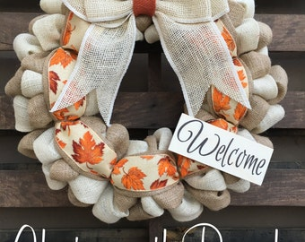 Fall Autumn Leaves - Welcome Door Wreath -  Rustic Country Shabby Chic Thanksgiving Fall Autumn Harvest Halloween