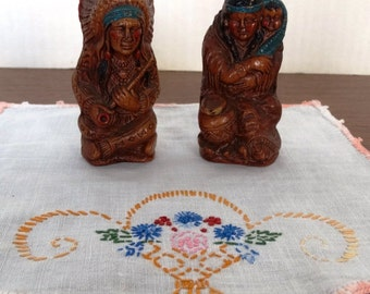 Vintage Native American Syroco Wood Salt and Pepper Shakers