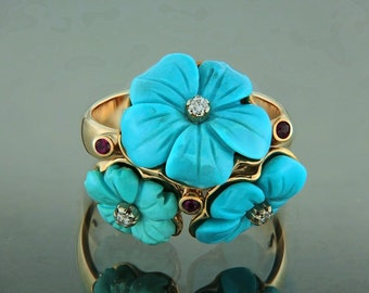 Modern extraordinary ring Forgetmenot, made of yellow gold, turquoise, rubies and diamonds