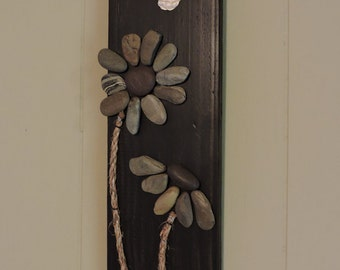 Pebble Art, Stone Art, Shell Art - Blooms with Butterfly on reclaimed wood 5.5x20