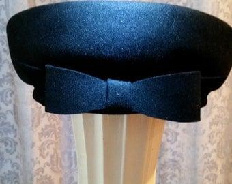 Black Felt Pillbox Hat with Bow