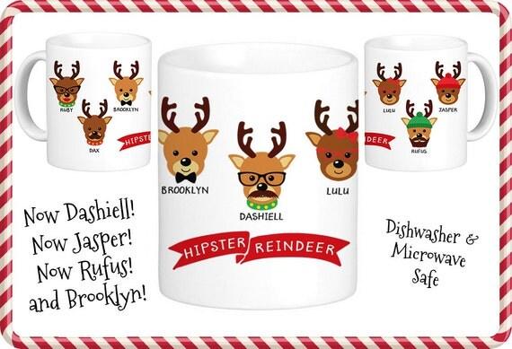 Coffee Mug Hipster Reindeer Christmas Coffee Cup - Funny and Cute Holiday Mug