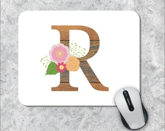 Monogram Mouse Pad, Initial Mousepad, Watercolor Mouse Mat, Old Wood Mousepad, Wooden Letter Mouse Pad, Custom Mousepad, Round Mousepad