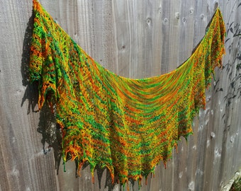 OOAK Hand knitted beaded lace shawl