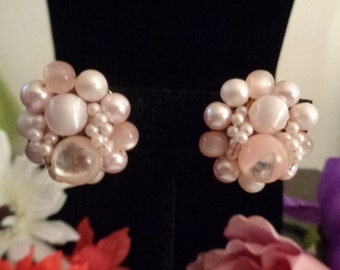 Pink Japan Beaded Faux Pearls in Pink with Goldtone Backs.