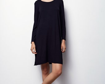 Black dress long sleeves, Fall oversize  dress, Black Dress, Casuel Black Dress-Olivia