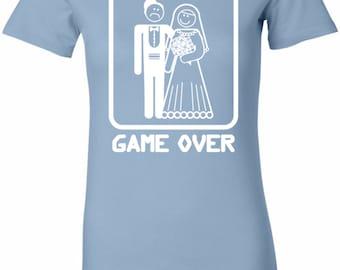 White Game Over Ladies Longer Length Tee T-Shirt WGAMEOVER-6004