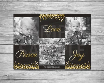 Holiday Photo Card, Christmas Photo Card, Printable Holiday Photo Card, Printable Christmas Photo Card, Peace, Love & Joy Card