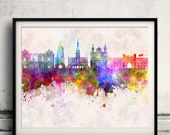 Lublin skyline in watercolor background - Poster Digital Wall art Illustration Print Art Decorative - SKU 1335