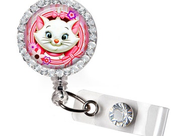 Marie from the Aristocats, Retractable badge, ID badge holder, Decorated badge, Small gift