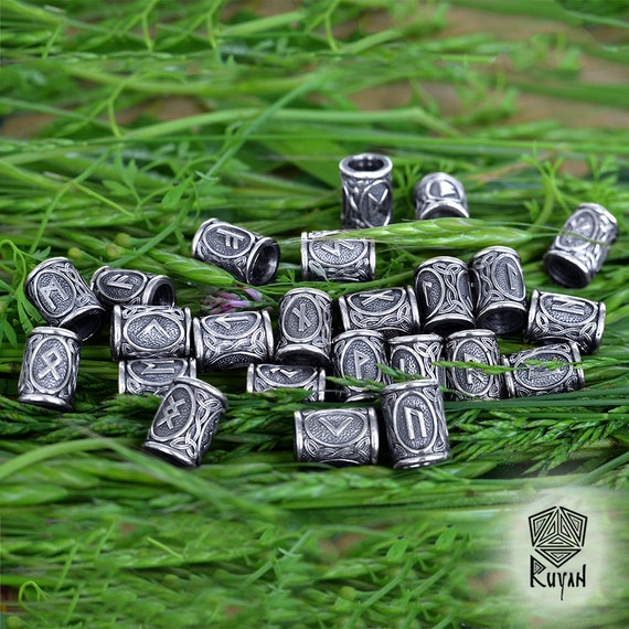 Viking Runes beads. Beads for Beards or Hair Viking Rune