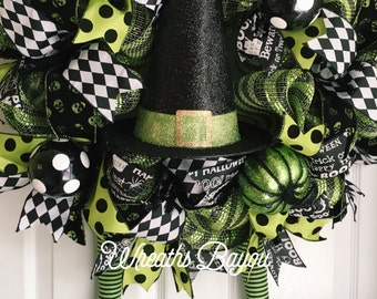 Halloween Wreath Witch Wreath with Legs Deco Mesh Wreath Halloween Deco