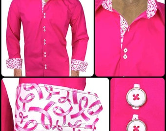 Bright Pink Breast Cancer Dress Shirt - Pink with Metallic Pink and White Ribbons