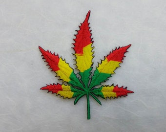 Reggae Cannabis  Iron On Patch (L1) 8.3X9.7 cm  - Weed Embroidery Applique Iron On Patch
