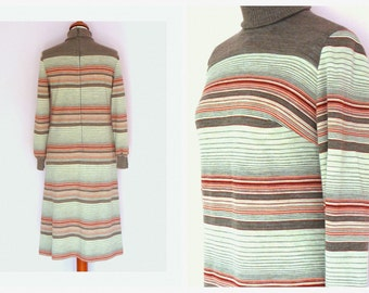 Sale 1960's Knitted Striped Dress / High Neck Dress / Long Sleeve Dress / Vintage size  36-38 / Mod