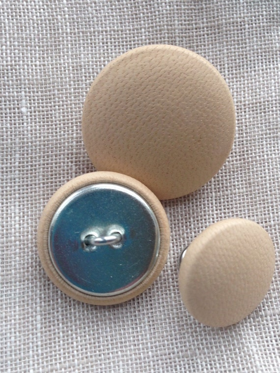 3510 Nude Leather covered buttons 15 mm 19 mm 23 by